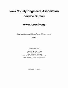 Iowa County Engineers Association Service Bureau TR417 2000
