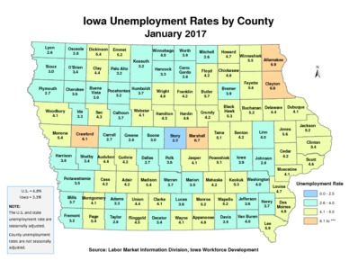 Unemployment Rates For Iowa Counties January Iowa - Counties in iowa