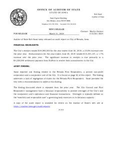Audit Report On The City Of Nevada Iowa For The Year Ended June 30 2019 Iowa Publications Online