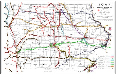 Iowa Railroad Service Map, July 1, 2009 - Iowa Publications Online